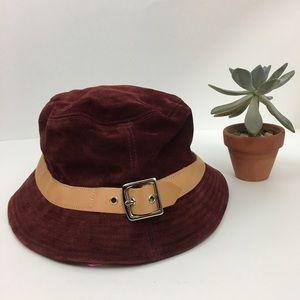 Coach Burgundy Leather Bucket Hat